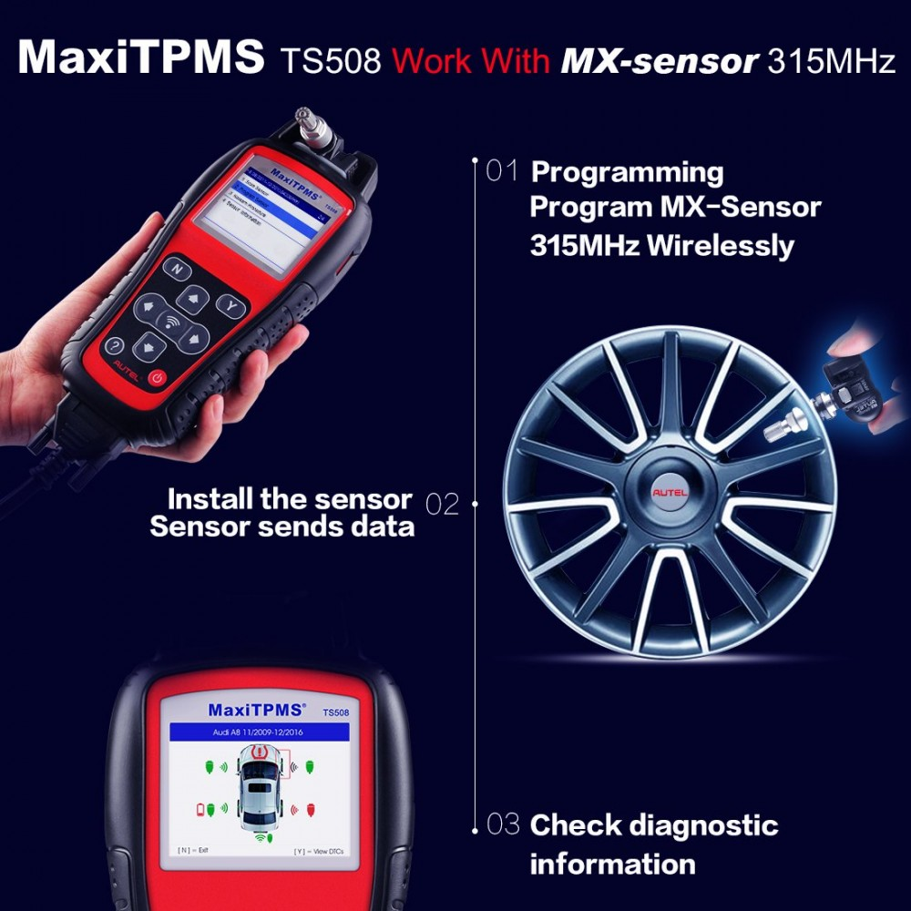 Check Tpms System >> Autel Maxitpms Ts508 Tpms Diagnostic Tool Check Tpms System